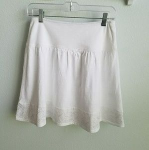 Banana Republic white knit embroidered skirt S
